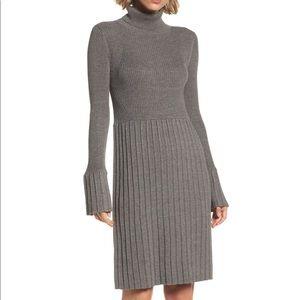 Adrianna Papell Turtleneck Pleated Sweater Dress